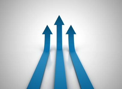 Three red arrows going up - success concept illustration