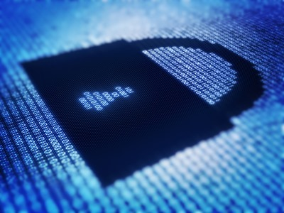 Binary code and lock shape on pixellated screen