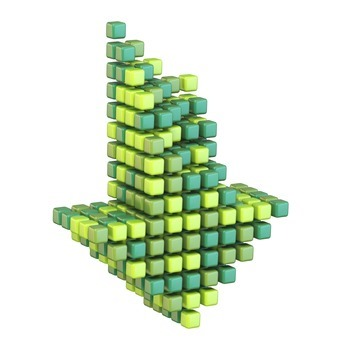 Download arrow made of different green cubes 3D