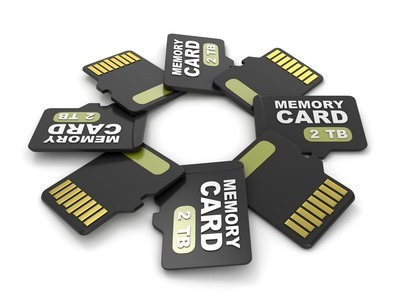 MicroSD memory cards, front and back view 2 TB. Circular arrangement. 3D