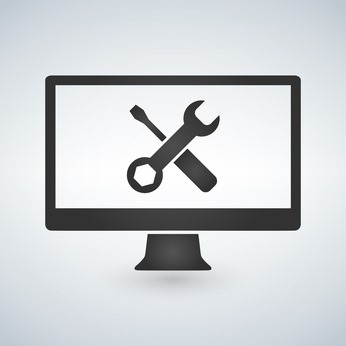 Computer repair concept. Computer screen with working tools.